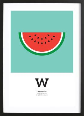"""The Food Alphabet"" - W like Watermelon affiche sous cadre en bois"