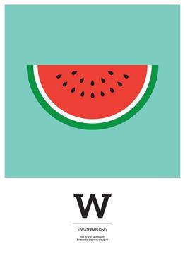 """""""The Food Alphabet"""" - W like Watermelon tableau en verre"""