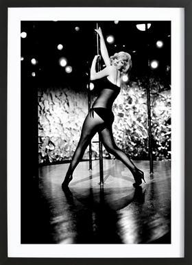 Marilyn Monroe Pole Dancing affiche sous cadre en bois