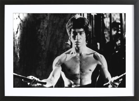 Bruce Lee in 'Enter The Dragon' affiche sous cadre en bois