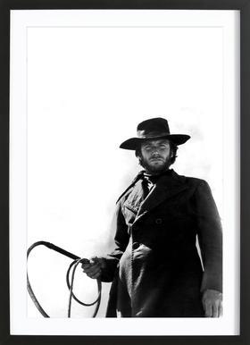 Clint Eastwood as 'The Stranger' affiche sous cadre en bois