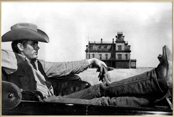 James Dean in 'Giant' affiche sous cadre en aluminium