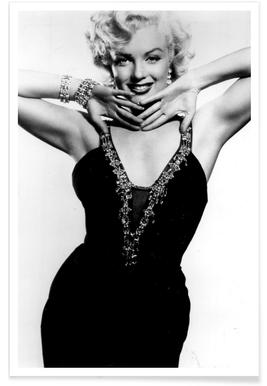 Marilyn Monroe in a glamourous black dress affiche