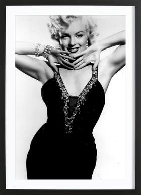 Marilyn Monroe in a glamourous black dress affiche sous cadre en bois