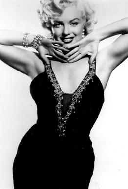 Marilyn Monroe in a glamourous black dress tableau en verre