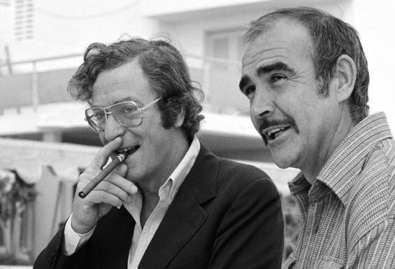Michael Caine & Sean Connery on Set Impression sur alu-Dibond