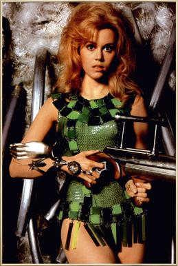 Jane Fonda as 'Barbarella' affiche sous cadre en aluminium