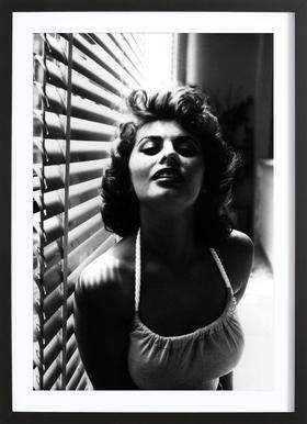 Sophia Loren Portrait affiche sous cadre en bois