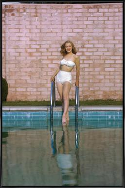 Young Marilyn Monroe Poolside I Framed Poster