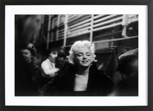 Marilyn Monroe on Subway affiche sous cadre en bois