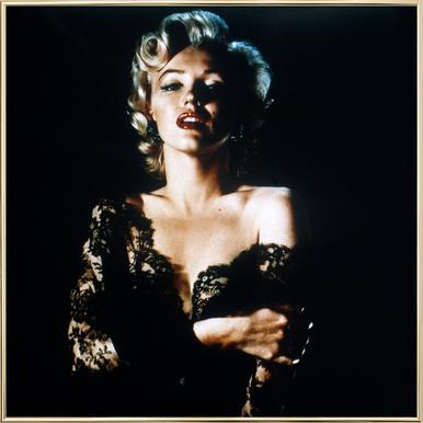 Marilyn Monroe wearing Black Lace affiche sous cadre en aluminium