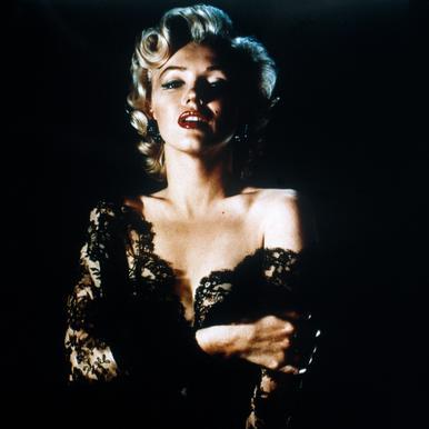 Marilyn Monroe wearing Black Lace tableau en verre