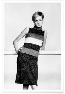 Twiggy in a knitted suit Poster