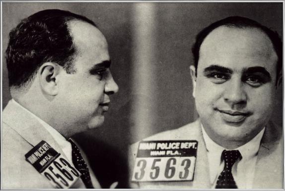 Al Capone's Mugshot affiche sous cadre en aluminium