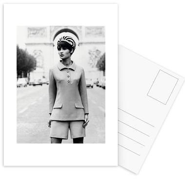 Outfit created by Pierre Balmain for airline hostesses of the future. Postcards