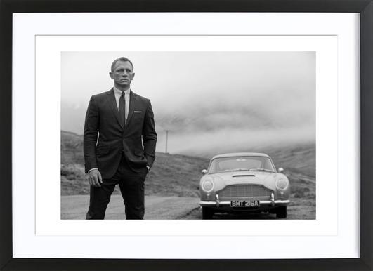 Daniel Craig as James Bond Affiche sous cadre en bois