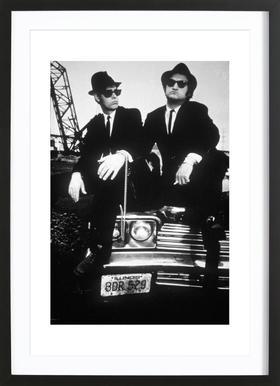 Dan Akroyd and John Belushi in Blues Brothes, 1980 Affiche sous cadre en bois