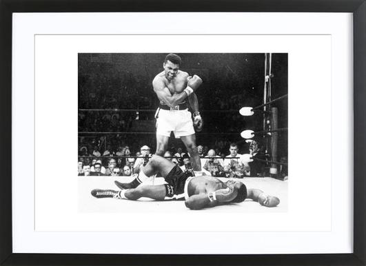 Muhammad ali rematch with sonny liston 1965 vintage photography archive poster in wooden