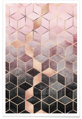 Pink Grey Gradient Cubes Affiche