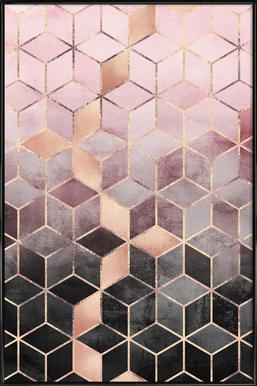 Pink Grey Gradient Cubes ingelijste poster