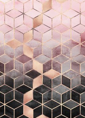 Hervorragend Pink Grey Gradient Cubes   Elisabeth Fredriksson   Leinwandbild