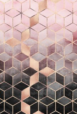 Pink Grey Gradient Cubes   Elisabeth Fredriksson   Acrylic Glass Print
