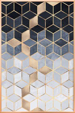 Soft Blue Gradient Cubes   Elisabeth Fredriksson   Poster Im Alurahmen ...