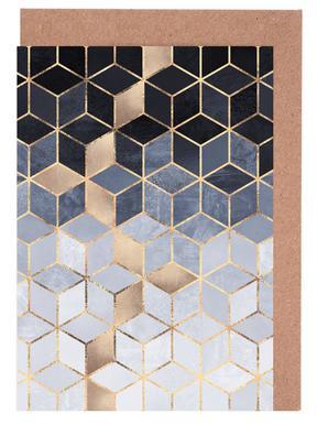 Soft Blue Gradient Cubes Set de cartes de vœux