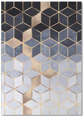 Soft Blue Gradient Cubes Notizbuch
