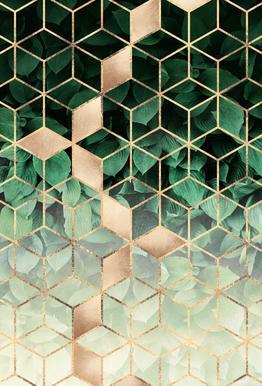 Leaves & Cubes acrylglas print