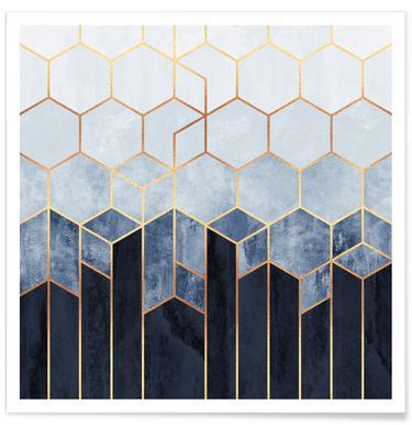 Soft Blue Hexagon Poster