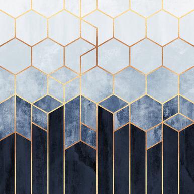 Soft Blue Hexagon Canvas print