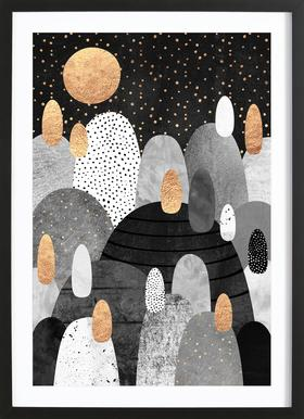 Little Land Of Pebbles By Night Poster im Holzrahmen