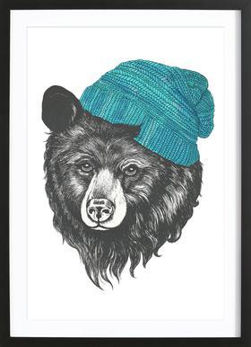 Bear Blue Poster in houten lijst