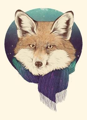 Winter Fox canvas doek