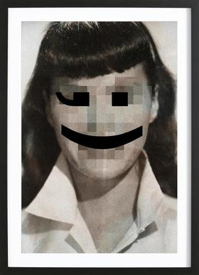 Retro Pop Emoticons Betty Poster in houten lijst