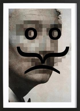 Retro Pop Emoticons Salvador Poster in houten lijst