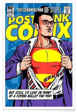 Post-Punk Comix- Super Moz - This Charming Man of Steel poster