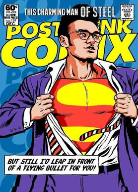 Post-Punk Comix- Super Moz - This Charming Man of Steel canvas doek