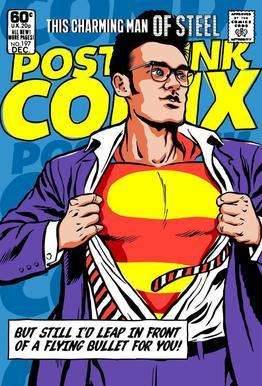 Post-Punk Comix- Super Moz - This Charming Man of Steel acrylglas print