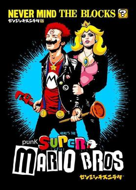 Punk Super Mario Bros - Never Mind the Blocks canvas doek