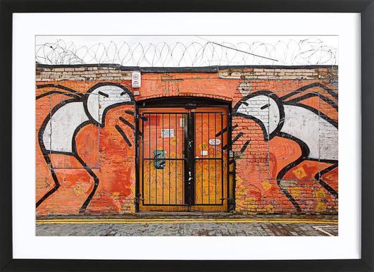 Streetart Orange Affiche sous cadre en bois