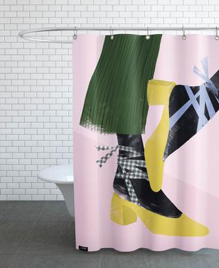 Gingham And Blue Ribbons As Shower Curtain By Babeth Lafon