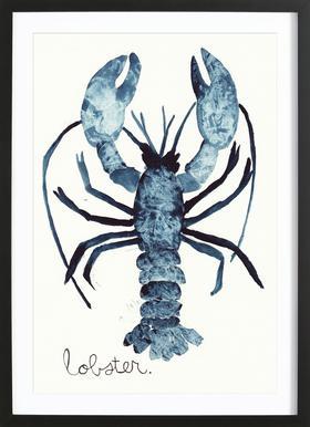 Lobster affiche sous cadre en bois