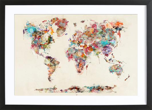 World map watercolor as poster in standard frame juniqe world map watercolor brian buckley poster in wooden frame gumiabroncs Choice Image