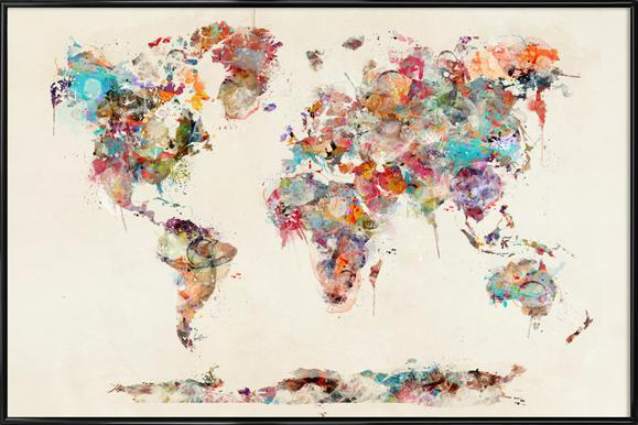Buy framed posters of maps online juniqe uk world map watercolor brian buckley poster in standard frame gumiabroncs Gallery