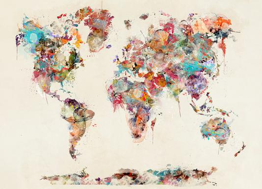 World map watercolor brian buckley canvas print