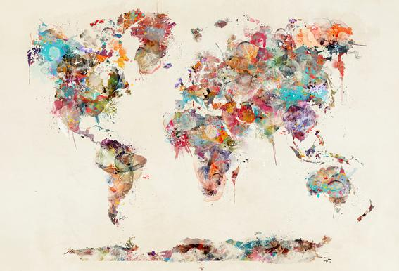 World map watercolor as canvas print by brian buckley juniqe acrylic glass printfrom 3999 gumiabroncs Images
