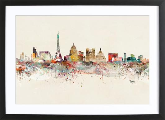 Paris brian buckley poster in wooden frame