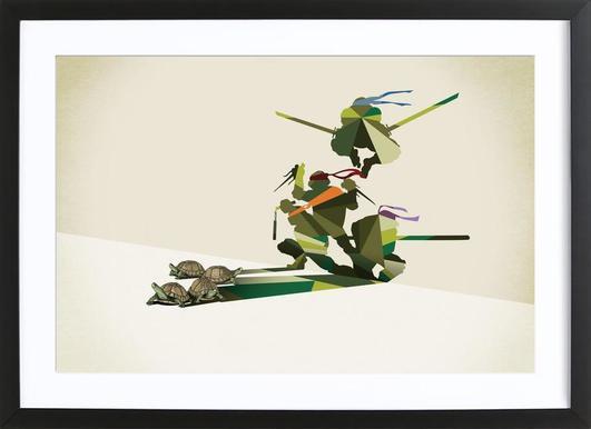 Walking Shadow - Turtles affiche sous cadre en bois